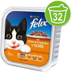Animalerie  Felix Mijotés en sauce 32 x 100 g pour chat  saumon thon