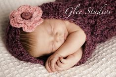 Crochet hooded cocoon newborn photography prop with detachable flower