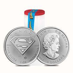 Roll of 25 - 2016 1 oz Silver Canadian Superman: S-Shield .9999 Fine $5 Coin (Lo