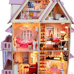 Assembling DIY Miniature Model Kit Wooden Doll House Big Size House Toy With Furnitures House Model birthday Gift