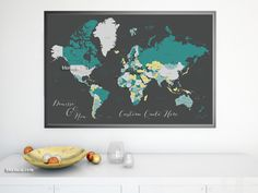 Personalized digital donwload world maps make perfect gifts! Custom quote - PRINTABLE world map with country names, US states names, Canadian provinces. Shades Of Teal, Teal And Grey, Gray, World Map With Countries, Printable Maps, Printables, Country Names, World Map Poster, Custom Map