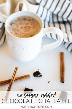 This chocolate chai tea is a delicious hybrid between hot chocolate and a chai latte that happens to be dairy-free with zero added sugar! Chocolate Chai Tea Recipe, Chai Recipe, Latte Recipe, Sugar Free Chocolate, Chocolate Recipes, Hot Chocolate, Healthy Christmas Recipes, Best Dessert Recipes, Coffee Recipes