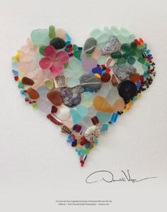 """Bought a Donald Verger calendar. His work is gorgeous! Sea Glass Fine Art Heart Poster 11 X 14 From the Book """"Of Love & Sea Glass: Inspirational Quotes and Treasured Gifts from the Sea"""" Donald Verger Photography Sea Glass Beach, Sea Glass Art, Sea Glass Jewelry, Sea Glass Display, Silver Jewelry, Broken Glass Art, Diamond Jewelry, Mosaic Art, Mosaic Glass"""