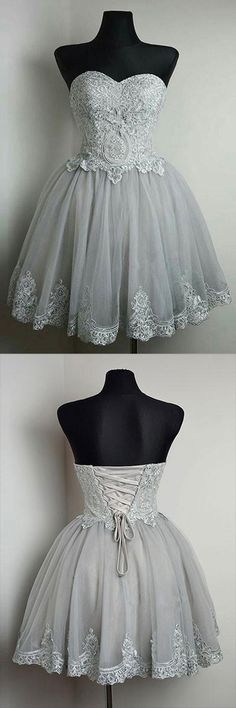 Homecoming Dress,Homecoming Dress Short,Prom Dress Short,Cheap Prom Dresses,Cheap Homecoming Dresses,Cheap Evening Dress,Homecoming Dresses Cheap,Quality Dresses,Party Dress,Fashion Prom Dress,Prom Gowns,Dresses for Girls,Prom Dress,Simple Prom Dresses,Grey Sweetheart Neck Strapless Homecoming Dresses with Lace Applique