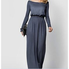 Women's+Going+out+Holiday+Sheath+Dress,Solid+Boat+Neck+Maxi+Long+Sleeve+Rayon+Nylon+Summer+Mid+Rise+Micro-elastic+Thin+–+MXN+$+5,977.14