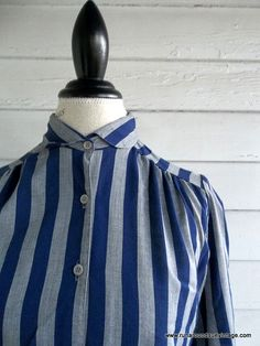 Vintage Blouse  Navy and Gray STRIPES with Peter Pan Collar by runaroundsuevintage, $24.00