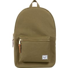 Herschel Supply Co. Settlement Laptop Backpack (73 CAD) ❤ liked on Polyvore featuring bags, backpacks, green, laptop backpacks, green backpack, brown bag, rucksack bag, brown laptop backpack and zipper bag