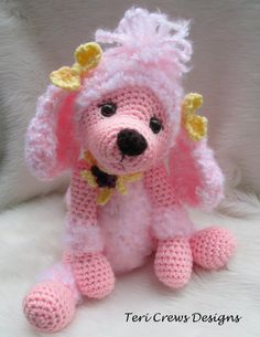 Cute Poodle Crochet Pattern by Teri Crews Wool and Whims PDF Format Instant Download SALE