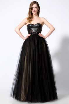Leather tulle bridesmaids pinterest leather tulle for Leather wedding dresses black