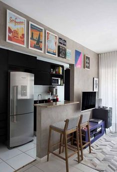 Planned Kitchen Small Apartment: How to Assemble, Tips 60 FOTOS . Open Kitchen, Kitchen Dining, Kitchen Decor, Kitchen Small, Small Apartments, Small Spaces, Apartment Interior, Sweet Home, New Homes