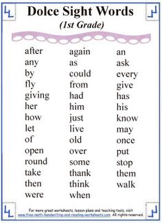Printable sight words, divided by reading level. Print out your sight words list and then check out the printable sight word worksheets. Dolch Word List, Sight Words List, Dolch Sight Words, Sight Words Printables, Sight Word Worksheets, Reading Worksheets, Reading Levels, Reading Skills, First Grade Curriculum