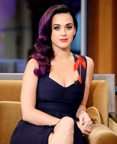 Katy perry deep purple all over bright hair color with a black base