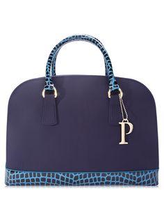 Blue leather trim 'P' grab bag by PISIDIA on secretsales.com