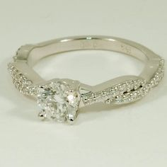 18K White Gold Twisted Vine Diamond Ring (1/4 CT.TW.) - Set with a  0.60 Carat, Round, Super Ideal Cut, F Color, VVS2 Clarity Diamond #BrilliantEarth