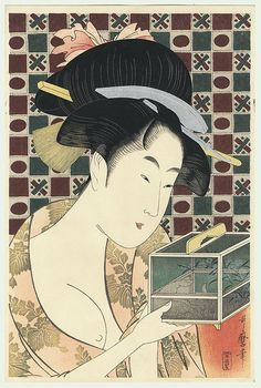 beauty & an insect cage / utamaro / 1750 - 1806