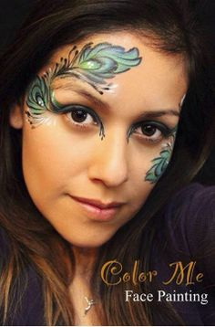 Peacock feathers face painting - Color Me Face Painting