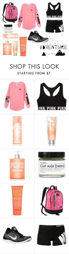 """Adventuring -->"" by broken-hearts-and-broken-dreams ❤ liked on Polyvore featuring Victoria's Secret PINK, Fig+Yarrow, Formula 10.0.6 and NIKE"