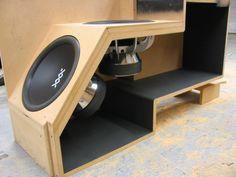 Risultati immagini per 15 speaker box Custom Subwoofer Box, Diy Subwoofer, Subwoofer Box Design, Speaker Box Design, Diy Speakers, Built In Speakers, Custom Car Audio, Car Audio Installation, Car Audio Systems