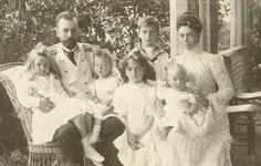 Grand Duchess Xenia Alexandrovna Romanova of Russia and Grand Duke Alexander Mikhailovich Romanov of Russia with five of their children.