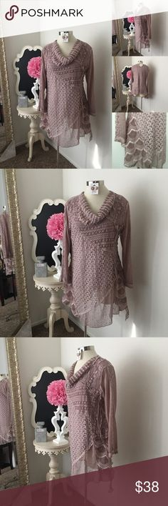 🌺 Simply Couture  Mauve Crochet / Lace Top 🌺 Simply Couture  Mauve Crochet / Lace Top  -  Lightweight- Cow neck Style - Sheer Long Sleeve Lace Design  - Asymmetrical Hem - Top Is Lined  $48 New w/ Tags ( Reg $78) Size: Medium  Fabric : 65% Cotton  - 35% Polyester  🌺 Accessories Not Included But Are also for Sale  Please Check out my Other Items in my GIRLe B Posh Shoppe'  Like us on FB   www.facebook.com/girleboutique Thanks For Looking & Always Let your Clothes get All the Attention 💋…