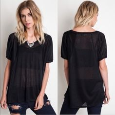 Black thin knit tee Large Lewboutiquetwo Tops