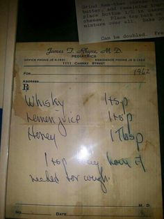 Stuffy Nose Remedies Written prescription for cough medicine from a long time ago. Cold And Cough Remedies, Home Remedy For Cough, Flu Remedies, Herbal Remedies, Health Remedies, Natural Remedies, Natural Treatments, Cough Suppressant Home Remedies, Sore Throat Remedies For Adults