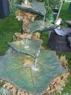 #fountains #gardening #community #concrete #organic #leafconcrete leaf fountains | Organic Gardening Community Backyard Water Feature, Ponds Backyard, Backyard Landscaping, Diy Garden Projects, Diy Garden Decor, Diy Garden Fountains, Concrete Fountains, Concrete Garden, Concrete Projects