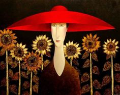 "Danny McBride, artist, original acrylic paintings at White Rock Gallery ""Sunflowers"" Woman Painting, Figure Painting, Danny Mcbride, Art Beat, Portrait Art, Portraits, Face Art, Art Pictures, Hats For Women"