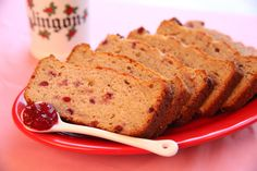 """This Finnish """"Puolukkakakku"""" looks like a quick bread, but this recipe really is a loaf cake. The tart berry jam along with sour cream keeps the dessert moist and flavorful. I love that the recipe [. Best Dessert Recipes, Cookbook Recipes, Easy Desserts, Cake Recipes, Healthy Recipes, Lingonberry Recipes, Finnish Recipes, Scandinavian Food, Loaf Cake"""