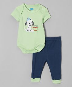 Look at this bon bébé Green 'Mommy's First Pick' Bodysuit & Navy Pants - Infant on #zulily today!