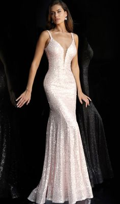Jovani 66383 sequin embellished glitter prom dress with plunging neckline, shoulder straps, sleeveless fitted bodice, and v-shaped low back, floor length fitted skirt with a ly fla end. - Prom Dresses - Jovani 66383 sequin embellished glitter prom dress w Pastel Prom Dress, Glitter Prom Dresses, Prom Dresses Jovani, Pageant Gowns, Dress Prom, Party Dresses, Light Pink Formal Dresses, Formal Gowns, Evening Gowns Couture