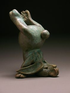 $110  Headstand Bunny by Steve Murphy. This whimsical sculpture is created in *stoneware*, and finished with a copper bronze green glaze. Each piece is unique, and will vary slightly. Please click here to see more of this artist's ceramic sculptures.
