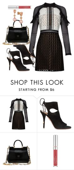 """Sin título #1131"" by yami-paku-lp ❤ liked on Polyvore featuring self-portrait, Aquazzura, Dolce&Gabbana and LE VIAN"