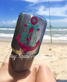 Monogram Anchor & Bow Vinyl Decal/Sticker for Yeti Cups- FREE SHIPPING!! by SparePartsBoutique on Etsy
