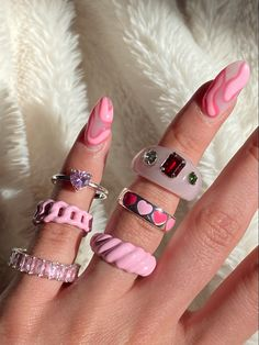 Nail Jewelry, Cute Jewelry, Trendy Jewelry, Cute Nails, Pretty Nails, Nail Ring, Accesorios Casual, Minimalist Nails, Best Acrylic Nails
