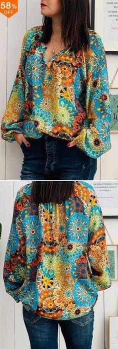 Do you love it?Plus Size Bohemian Printed Long Sleeve Women Blouse - Shopping Do you love it?Plus Size Bohemian Printed Long Sleeve Women Blouse Do you love it?Plus Size Bohemian Printed Long Sleeve Women Blouse Sewing Clothes Women, Trendy Clothes For Women, Trendy Outfits, Blouses For Women, Crochet Clothes, Trendy Clothing, Bohemian Mode, Bohemian Print, Boho Fashion