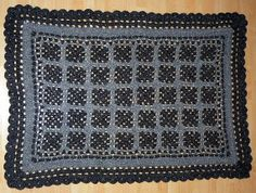 Black Grey  Granny Square Afghan Crochet Plaid von CrochetRagRug, €129.00