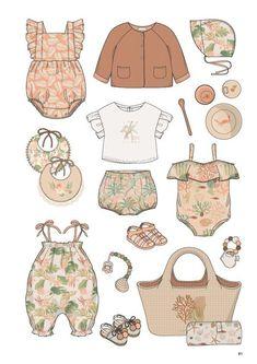 Baby Design, Design Design, Silhouette Mode, Baby Illustration, Fashion Design Drawings, Fashion Portfolio, Drawing Clothes, Kids Prints, Summer Kids