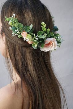 A flower half crown constructed on a 3 clear hair comb. Entire piece measures about 12 long. Built on wire covered with vine giving it flexibility to be shaped to your head shape. Blush roses/peonies and greenery give this comb a wild and beautiful look. Can be worn anywhere on the head making it versatile! Want this hair comb in white? Check out this listing! https://www.etsy.com/listing/525353825/flower-crown-wedding-bridal-flower-hair?ref=shop_home_activ...