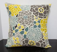 Trendy Blooms decorative throw pillow cover 18 x18 by purseona (Home & Living, Home Décor, Decorative Pillows, housewares, pillow, handmade, home decor, decorative pillow, pillowcase, couch, floral, robins egg blue, nursery pillow, gray, sun and shade, mustard yellow)