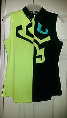 Jamie Sadock Fizz Lime Green & Black Sleeveless Golf Shirt