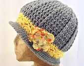 Crochet, Gray and Yellow Downton Abbey Inspired, Cloche Bucket Hat w/ Matching, Detachable, Fabric, Flower Clip for Women, Tweens, Teens