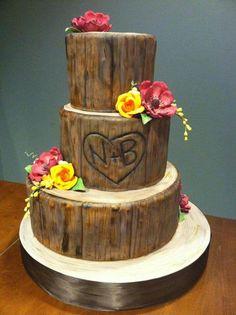 Gorgeous three tier tree bark wedding cake. White Flower Cake Shoppe