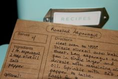 paper bag recipe cards.  Free template to print directly onto the paper bag.  Laminate, put on a ring and boom!  Accessible recipe book!