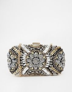ALDO Beaded Box Clutch With Chain Shoulder Strap