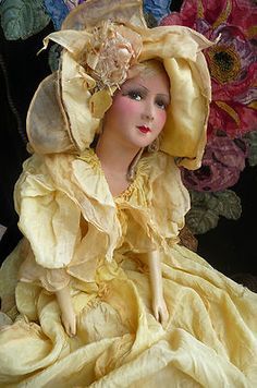 Antique French Boudoir Doll Paris 1920 RARE Silk 34 inches Hat | eBay