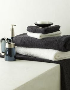 Coordinate your bathroom towels and accessories  #bedbathntable