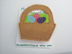 Easter Basket Felt Brooch by michellesstitches on Etsy