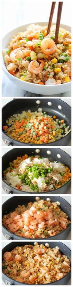Shrimp Fried Rice - Why order take-out? This homemade version is so much healthier, cheaper and tastes better!
