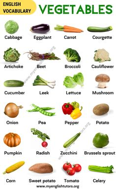 List of Vegetables: Popular Vegetables Names with the Picture! - My English Tutors Fruits And Vegetables Names, What Are Vegetables, List Of Vegetables, Food Vocabulary, English Vocabulary, Fruit Names, Vegetable Pictures, Fruit List, Health Foods